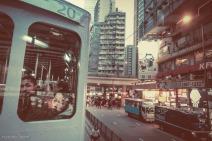 Double decker tramway car in Hong Kong, China. February 2014.