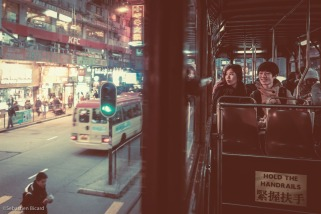 Double decker tramway car in Hong Kong, China. February 2014.