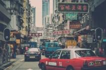 One of the busy avenues near Wan Chai neighborhood in Hong Kong.