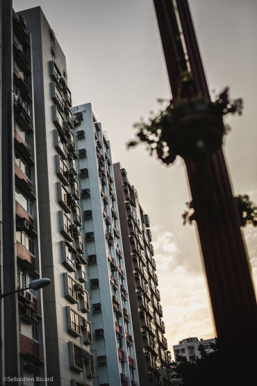 Pastel colored apartment complexes in Hong Kong.