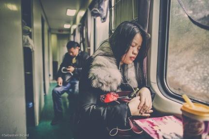 Corridor of sleeper train from Guangzhou to Nanning, China. February 2014.