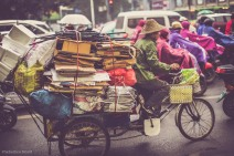 Economical transportation of goods and supplies in Nanning, China. February 2014.