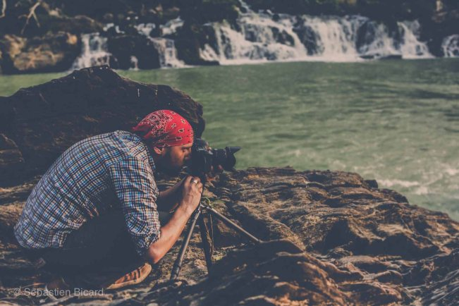 My beloved, as I often see him, behind the lens. Here he was waiting for the perfect sunset over waterfalls in Donlé Sap nature reserve, Vietnam.