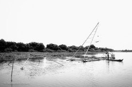 A towering cantilever fishing net with (hopefully) a bountiful catch. Near Tonlé Sap, Cambodia, March 2014.