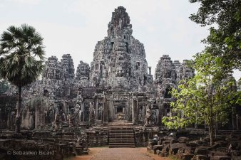 The impressively restored temple of Bayon. Angkor, Cambodia, March 2014.