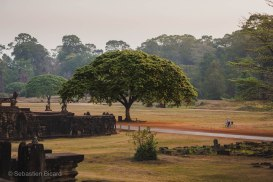 Early mornings are a relatively calm and cool time to visit Angkor Thom. Cambodia, March 2014.