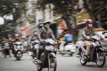 Some of the more than 2 million motorbikes that speed through the city center of Hanoi. Vietnam, February 2014.
