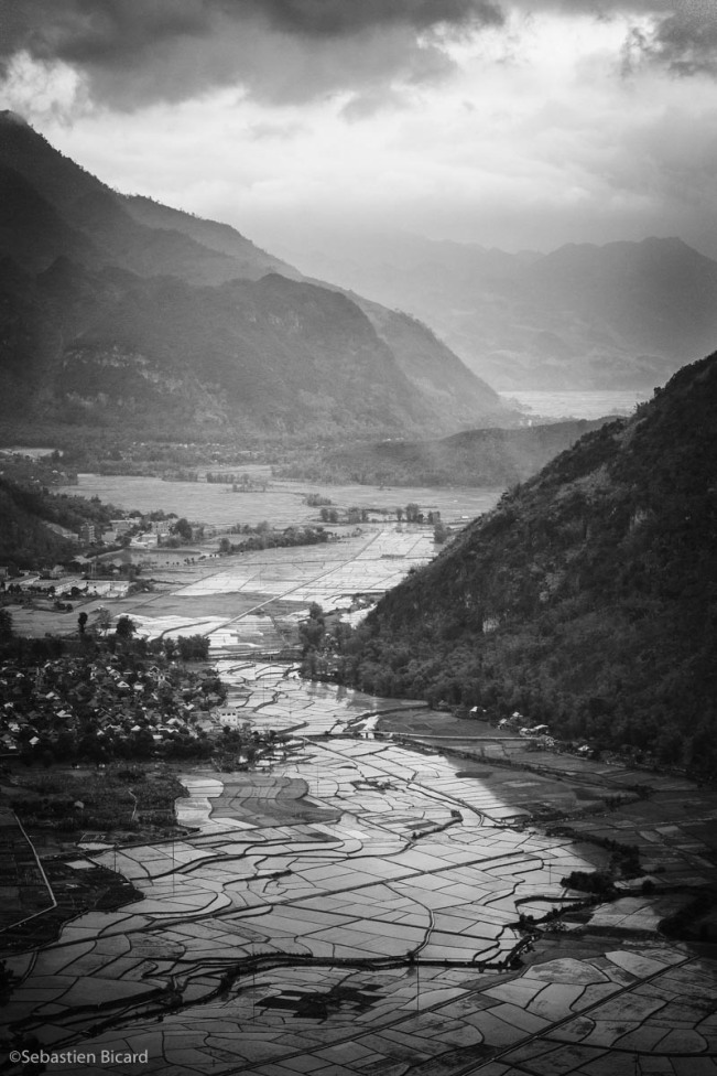 Mai Chau villages from the mountain pass above.