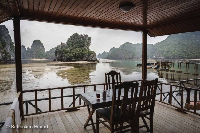 Taking time to appreciate our time in Asia - view from the bungalow in Halong Bay.