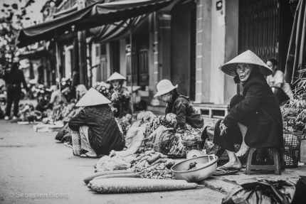 Fruit and vegetable vendors sell their wares near the central market of Hoi An. Vietnam, 2014.