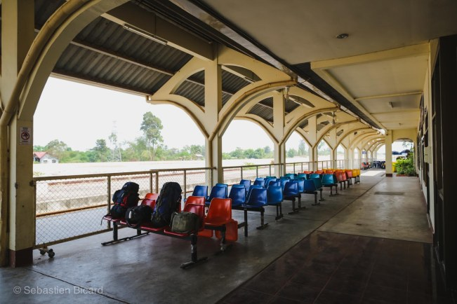 Not a great time for traveling - here we are waiting in the all-but-abandoned Thanaleng train station outside Vientiane.