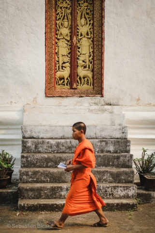A young Buddhist novice on his way to classes. Luang Prabang, Laos, April 2014.