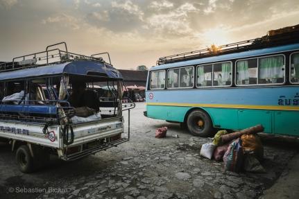 Sunset over the northern bus terminal outside Luang Prabang, Laos. April 2014.