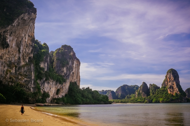 Karst views, white sand and turquoise water on Railay Beach.