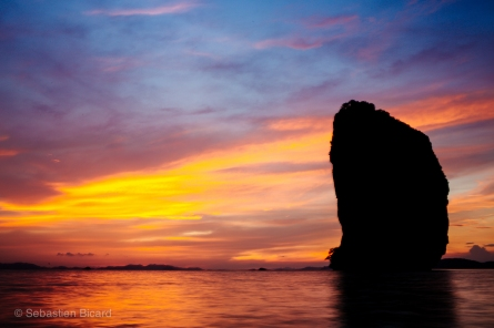 Some of the most beautiful sunsets we've seen were in Thailand. This was taken from the beach on Koh Poda. May 2014.