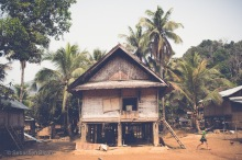A traditional stilt house in a village off the Nam Ou river. Huay Sen, Laos, April 2014.