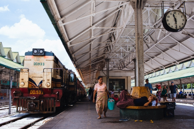 Getting ready to board the train from Yangon's central rail station.
