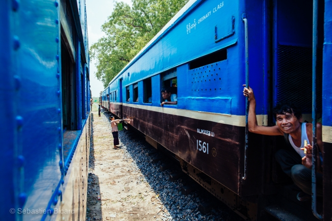 Old trains sometimes have a fresh coat of paint, like these blue coaches. The interiors can be pretty crusty though.