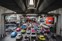The multiple layers of transportation in Bangkok include the inner city highways, Skytrains and subterranean metros. Thailand, April 2014.