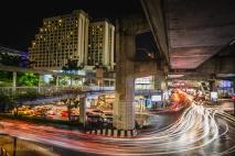 Traffic speeds through the Bangkok night. Thailand, April 2014.