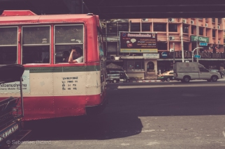 The old city buses are one of the several types of transportation used in the Thai capital. Bangkok, Thailand, April 2014.