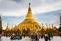 Shwedagon pagoda is 99 meters of a shimmering golden temple. Yangon, Myanmar, May 2014.