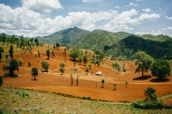 The red and green hills as seen from a trek outside Hsipaw, Myanmar, May 2014.