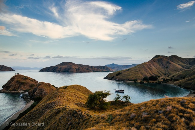 The Lombo moored in the small inlet of one of the 26 islands in Komodo National Park.