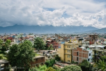 Clouds and mountains over Kathmandu from our rooftop terrace hotel. Nepal, July 2014.
