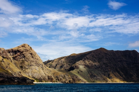 The green carpeted islands of Komodo National Park. Indonesia, June 2014.